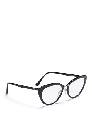Figure View - Click To Enlarge - Ray-Ban - 'RB7088 'Light Ray' titanium acetate cat eye optical glasses
