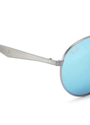 Detail View - Click To Enlarge - Ray-Ban - 'RB3537' coined metal round mirror sunglasses