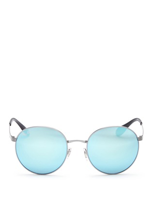 Main View - Click To Enlarge - Ray-Ban - 'RB3537' coined metal round mirror sunglasses