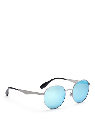 Figure View - Click To Enlarge - Ray-Ban - 'RB3537' coined metal round mirror sunglasses