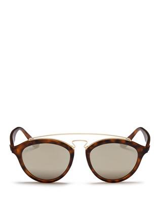 Main View - Click To Enlarge - Ray-Ban - 'RB4257' metal browline bridge tortoiseshell acetate phantos sunglasses