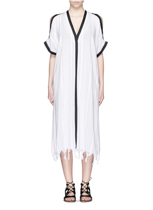 Main View - Click To Enlarge - Koza - 'Tauba' shoulder cutout tassel cover-up dress