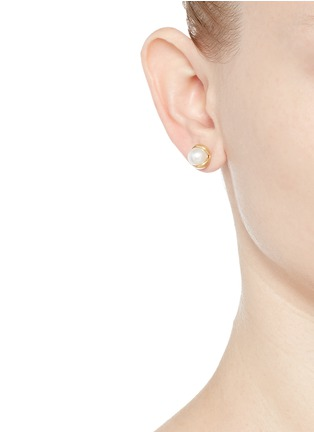 Figure View - Click To Enlarge - Belinda Chang - 'Fruity' 18k yellow gold plated freshwater pearl stud earrings