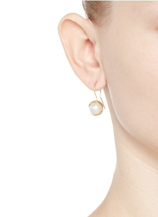 Figure View - Click To Enlarge - Belinda Chang - 'Fruity' 18k yellow gold plated freshwater pearl hook earrings