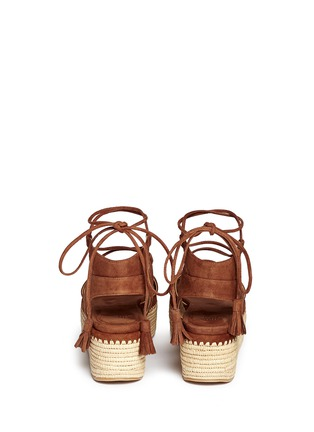 Back View - Click To Enlarge - Stuart Weitzman - 'Romanesque' raffia platform lace-up gladiator suede sandals