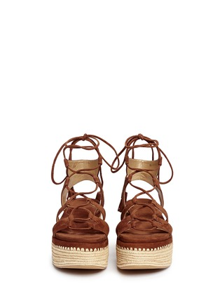Front View - Click To Enlarge - Stuart Weitzman - 'Romanesque' raffia platform lace-up gladiator suede sandals