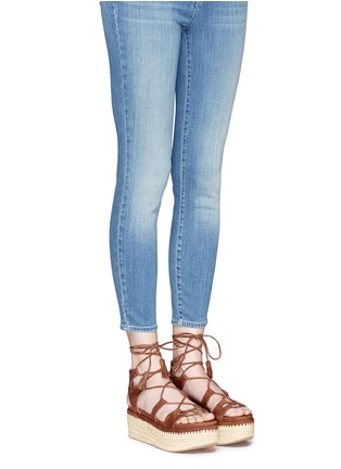 Figure View - Click To Enlarge - Stuart Weitzman - 'Romanesque' raffia platform lace-up gladiator suede sandals
