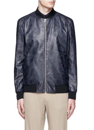 Main View - Click To Enlarge - Theory - 'Brant L' shatter print leather bomber jacket