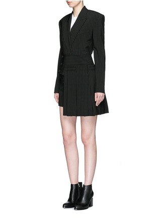 Figure View - Click To Enlarge - Dkny - Pinstripe inverted pleat skirt belt