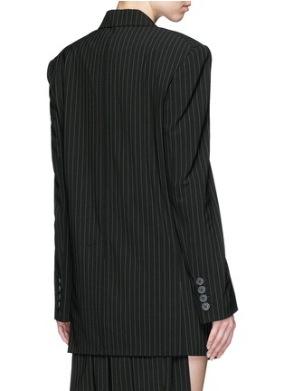 Back View - Click To Enlarge - Dkny - Oversize double breasted pinstripe suit jacket