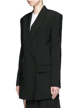 Front View - Click To Enlarge - DKNY - Oversize double breasted pinstripe suit jacket