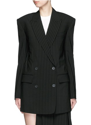 Main View - Click To Enlarge - DKNY - Oversize double breasted pinstripe suit jacket