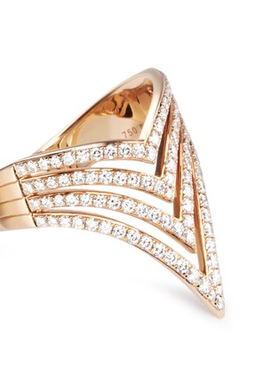 Detail View - Click To Enlarge - Messika - 'Queen V Full Pavé' diamond 18k rose gold ring