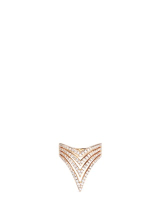 Main View - Click To Enlarge - Messika - 'Queen V Full Pavé' diamond 18k rose gold ring
