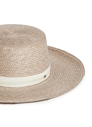 Detail View - Click To Enlarge - JANESSA LEONÉ - 'Calla Bolero' leather band Panama straw boat hat