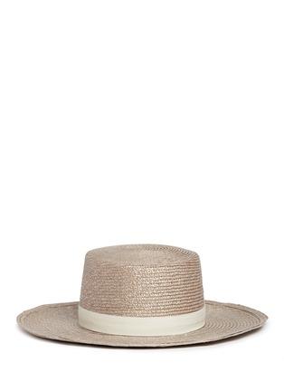 Main View - Click To Enlarge - Janessa Leone - 'Calla Bolero' leather band Panama straw boat hat