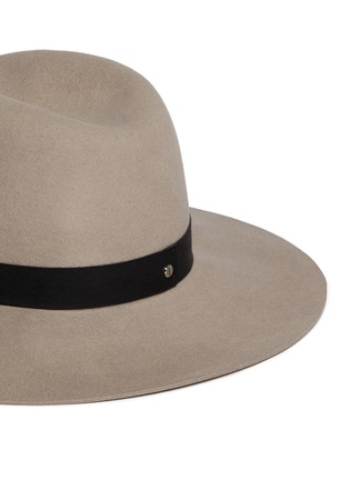 Detail View - Click To Enlarge - Janessa Leone - 'Lotus' leather band wool felt hat