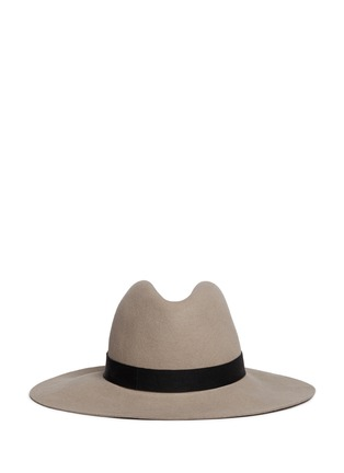 Main View - Click To Enlarge - Janessa Leone - 'Lotus' leather band wool felt hat