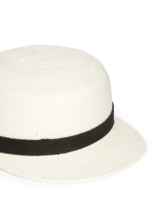 Detail View - Click To Enlarge - Janessa Leone - 'Gadina' suede band Panama straw cadet cap