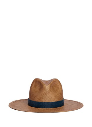 Main View - Click To Enlarge - Janessa Leone - 'Panton' leather band straw panama hat