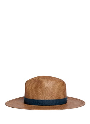 Figure View - Click To Enlarge - Janessa Leone - 'Panton' leather band straw panama hat