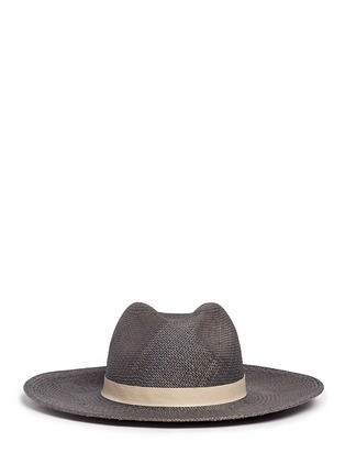 Main View - Click To Enlarge - Janessa Leone - 'Dahlia' leather band straw Panama hat