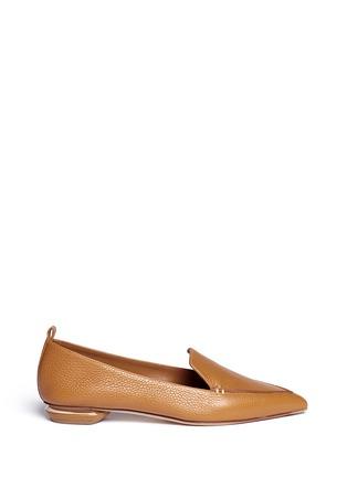 Main View - Click To Enlarge - Nicholas Kirkwood - 'Beya Bottalato' metal heel leather skimmer loafers
