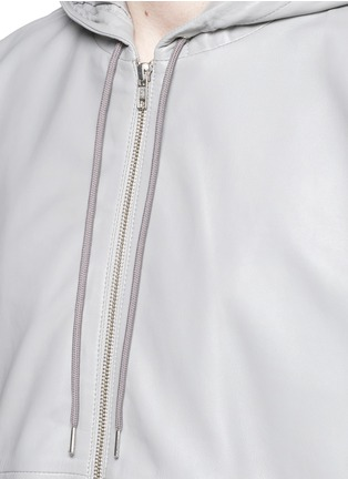 Detail View - Click To Enlarge - McQ Alexander McQueen - Leather zip hoodie