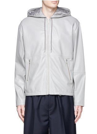 Main View - Click To Enlarge - McQ Alexander McQueen - Leather zip hoodie