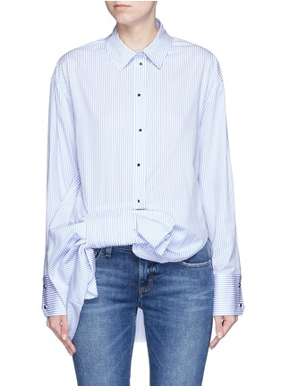 Main View - Click To Enlarge - VICTORIA, VICTORIA BECKHAM - Asymmetric bow candy stripe shirt