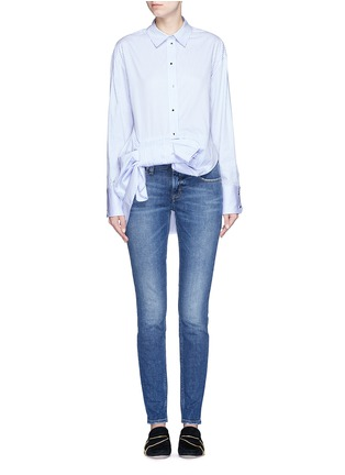 Figure View - Click To Enlarge - VICTORIA, VICTORIA BECKHAM - Asymmetric bow candy stripe shirt