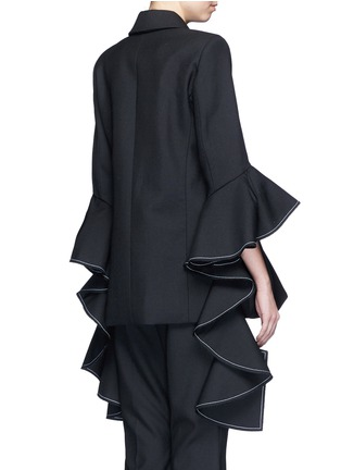 Back View - Click To Enlarge - Ellery - 'Majesty' ruffle sleeve Oxford weave jacket