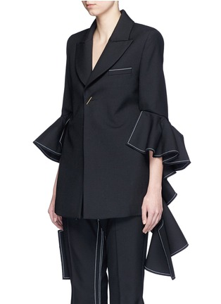Front View - Click To Enlarge - Ellery - 'Majesty' ruffle sleeve Oxford weave jacket