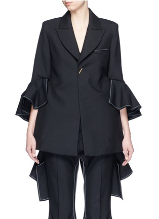 Main View - Click To Enlarge - Ellery - 'Majesty' ruffle sleeve Oxford weave jacket