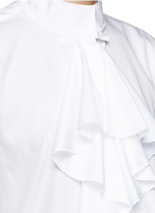 Detail View - Click To Enlarge - Ellery - 'Expelled' ruffle front cotton shirt