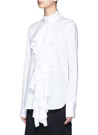 Front View - Click To Enlarge - Ellery - 'Expelled' ruffle front cotton shirt