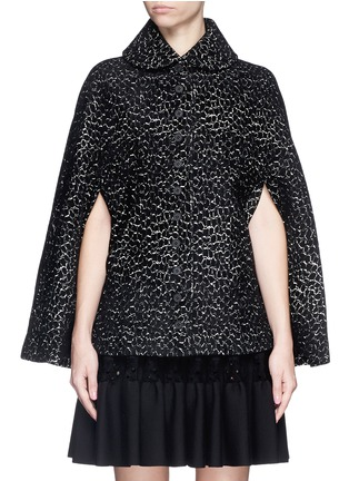 Detail View - Click To Enlarge - Alaïa - 'Asteroide' velour knit cape