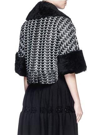 Back View - Click To Enlarge - Alaïa - Oversize bumpy arch fringe hem shearling cropped jacket