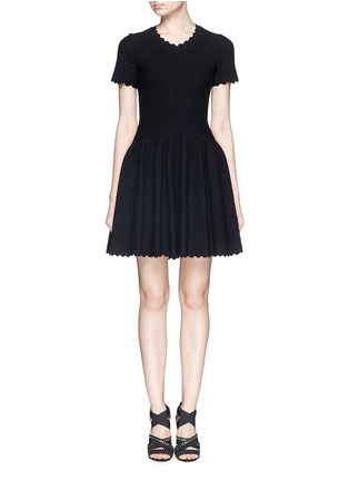 Main View - Click To Enlarge - AZZEDINE ALAÏA - 'Heliosphere' cloqué knit flare dress