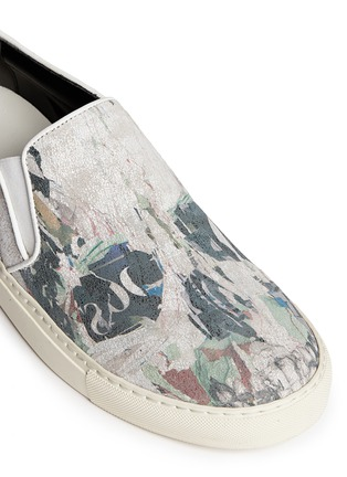 Detail View - Click To Enlarge - Alexander McQueen - Skull poster suede sneaker slip-ons