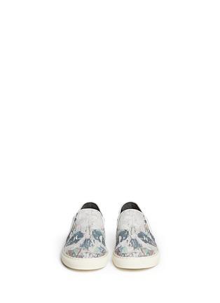 Figure View - Click To Enlarge - Alexander McQueen - Skull poster suede sneaker slip-ons