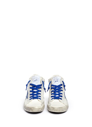 Figure View - Click To Enlarge - Bonpoint - x Golden Goose 'Tennis' suede trim canvas kids sneakers