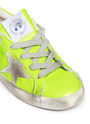 Detail View - Click To Enlarge - BONPOINT - x Golden Goose 'Tennis' neon leather kids sneakers