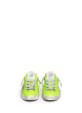 Figure View - Click To Enlarge - BONPOINT - x Golden Goose 'Tennis' neon leather kids sneakers