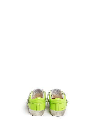 Back View - Click To Enlarge - Bonpoint - x Golden Goose 'Tennis' neon leather toddler sneakers