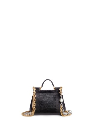 Back View - Click To Enlarge - Dolce & Gabbana - 'Miss Sicily' mini lizard embossed leather pearl chain satchel