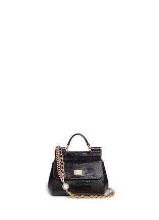 Main View - Click To Enlarge - Dolce & Gabbana - 'Miss Sicily' mini lizard embossed leather pearl chain satchel