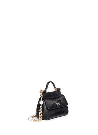Figure View - Click To Enlarge - Dolce & Gabbana - 'Miss Sicily' mini lizard embossed leather pearl chain satchel