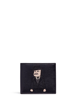 Main View - Click To Enlarge - Dolce & Gabbana - Sicilian Man appliqué leather bifold wallet