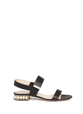 Main View - Click To Enlarge - Nicholas Kirkwood - Faux pearl heel leather slingback sandals